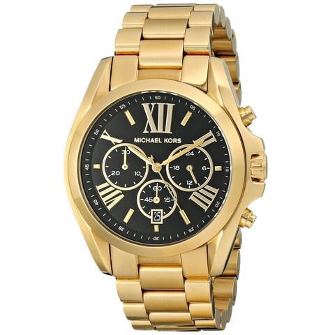 Michael Kors Women's 'Bradshaw' Goldtone Chronograph Black Dial Watch