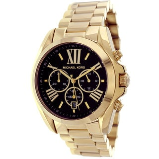 Michael Kors Women's 'Bradshaw' Goldtone Chronograph Black Dial Watch