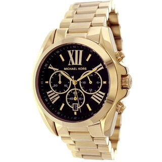 Michael Kors Women's MK5739 'Bradshaw' Goldtone Chronograph Black Dial Watch