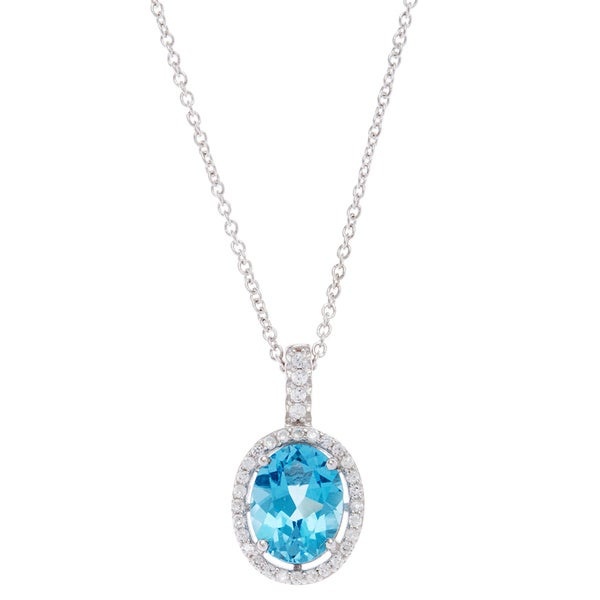 Kabella Sterling Silver Blue Oval-cut Topaz and Cubic Zirconia Solitaire Necklace