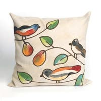 Birds In Pear Tree Indoor/Outdoor 20 inch Throw Pillow