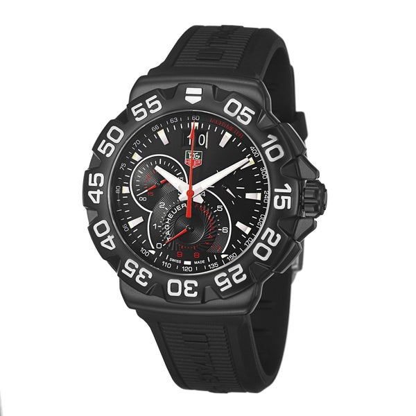 0762c6555b59 Shop Tag Heuer Men s CAH1012.BT0717  Formula 1  Chronograph Black Rubber  Watch - Free Shipping Today - Overstock - 8883449