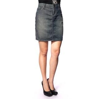 Stitch's Women's Blue Distressed Wash Low-waist Denim Skirt