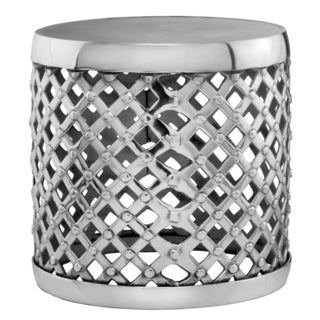 Shop Silvertone Lattice Aluminum Drum Accent Table Free