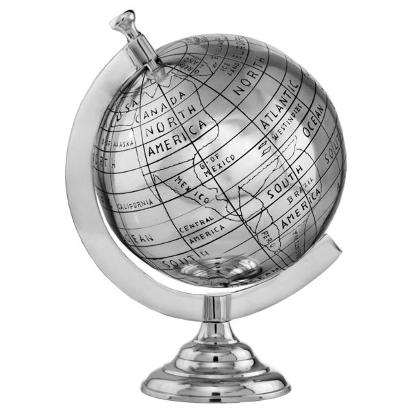 Large Silvertone Aluminum Decorative Globe