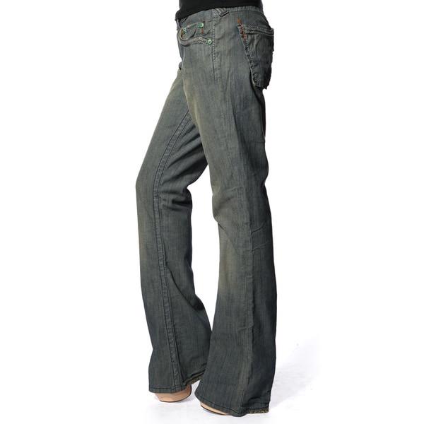 Stitch's Women's Blue Distressed Wash Denim Flared Jeans