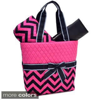 Rosen Blue 3-piece Diaper Bag Set in Chevron