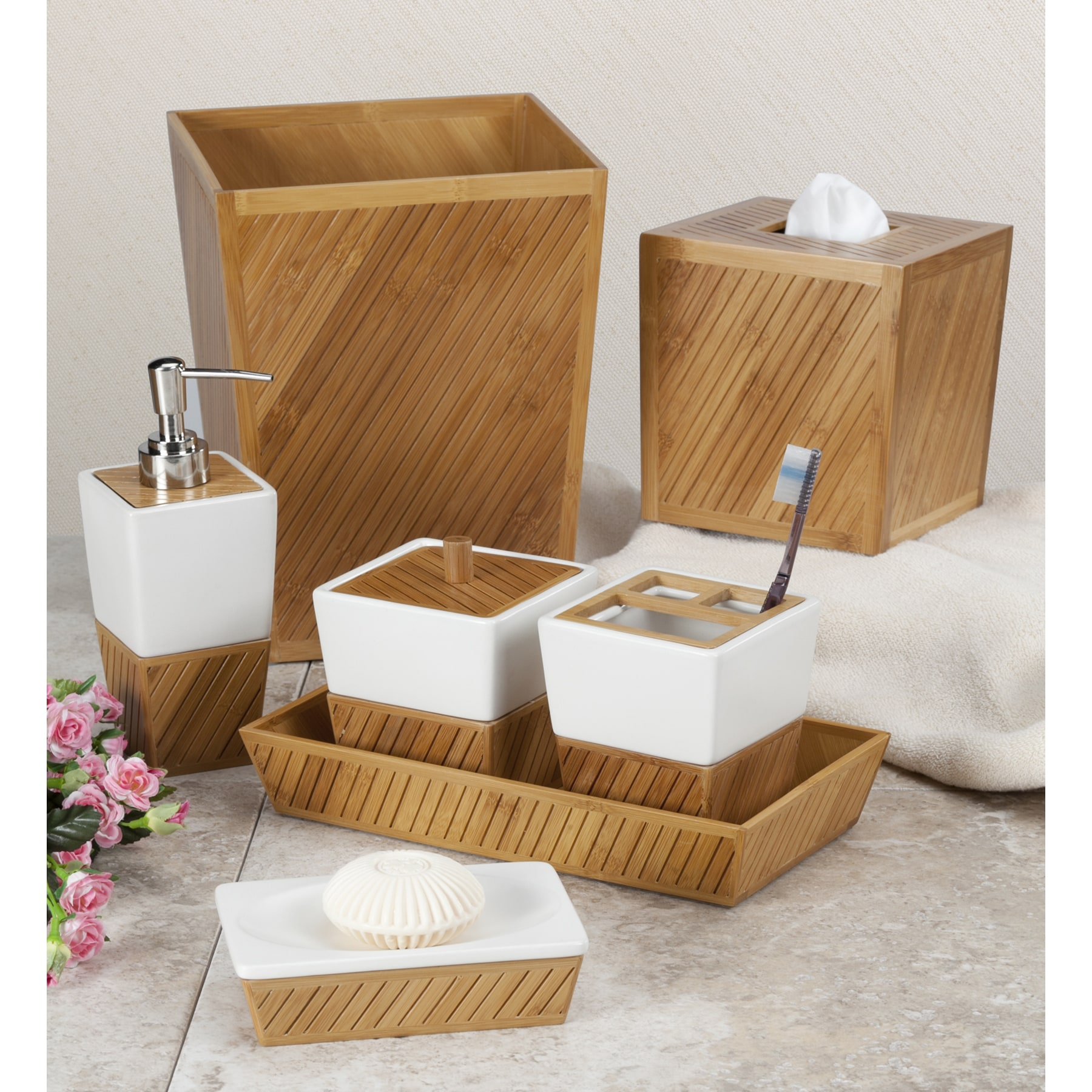 White Ceramic Bamboo Bathroom Accessory Set