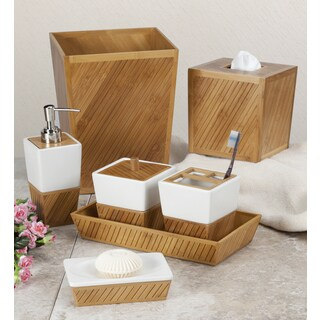 White Ceramic Bamboo Bathroom Accessory Set (More options available)