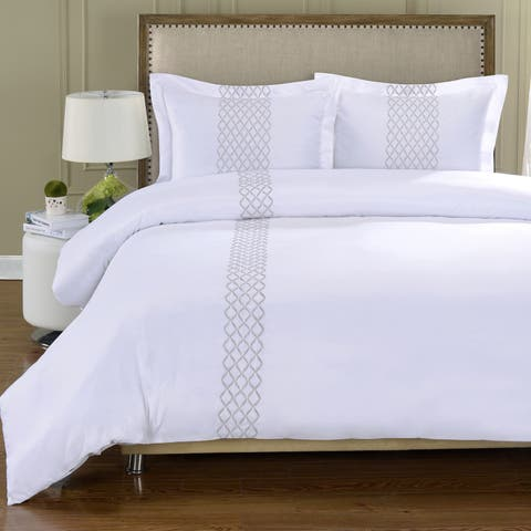 Miranda Haus Wrinkle Resistant Embroidered Microfiber Duvet Cover Set