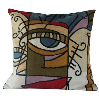 Handmade 18 x 18-inch 'Geo Women' Throw Pillow