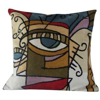 Handmade 18 x 18-inch 'Geo Women' Throw Pillow