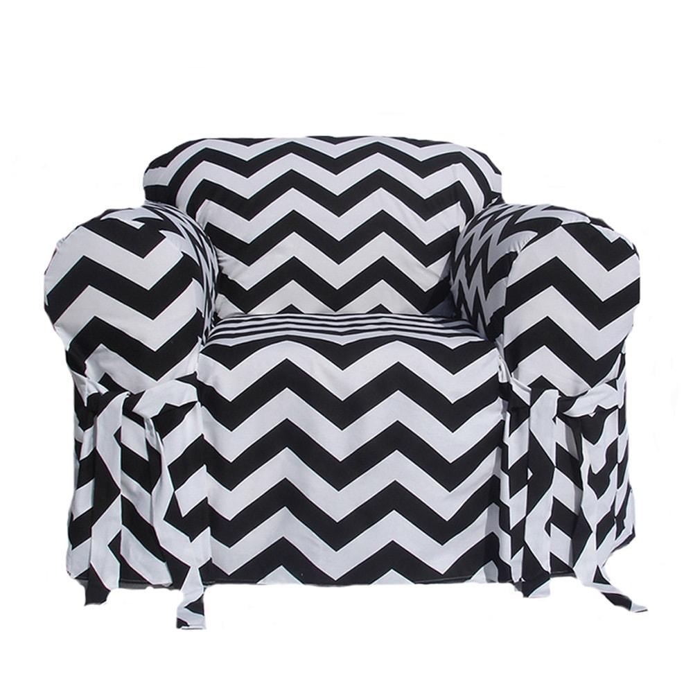 Enjoyable Black White Chevron Print One Piece Chair Slipcover Bralicious Painted Fabric Chair Ideas Braliciousco