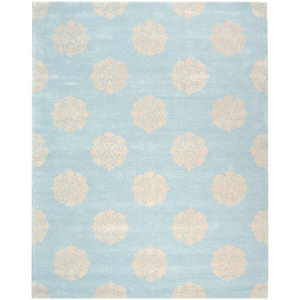 Safavieh Handmade Soho Turquoise/ Yellow Wool Rug - 8' x 10'
