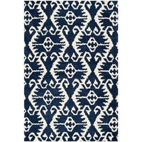 Safavieh Handmade Wyndham Royal Blue/ Ivory Wool Rug - 10' x 14'