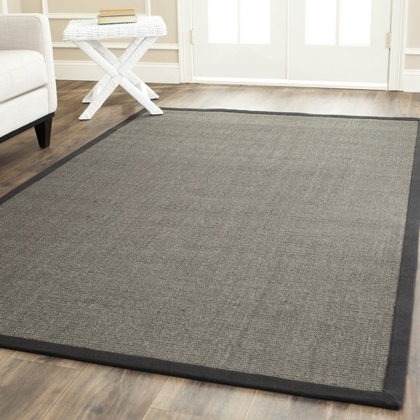 Safavieh Casual Natural Fiber Charcoal and Charcoal Border Sisal Rug - 10' x 14'