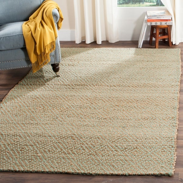 Safavieh Casual Natural Fiber Hand-Woven Natural/ Green Jute Rug - 10' x 14'