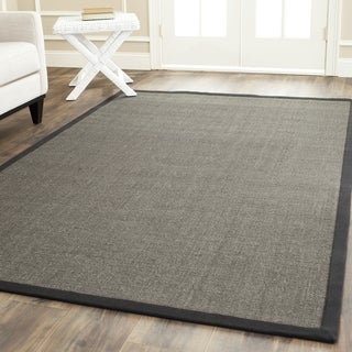 Safavieh Casual Natural Fiber Charcoal and Charcoal Border Sisal Rug - 11' x 15'