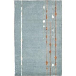 Safavieh Handmade Soho Modern Abstract Rain Blue Wool Rug (9'6 x 13'6)