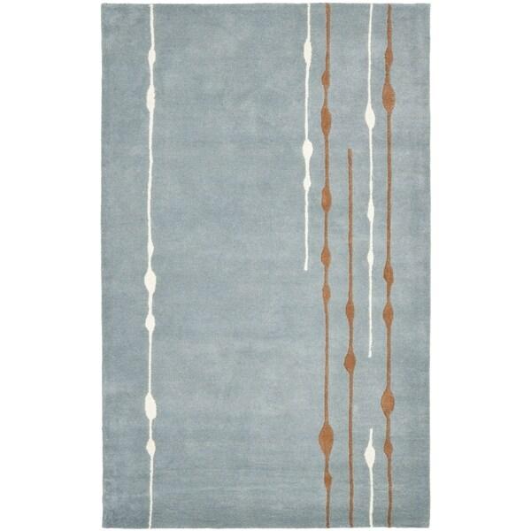 Safavieh Handmade Soho Modern Abstract Rain Blue Wool Rug - 9'6 x 13'6