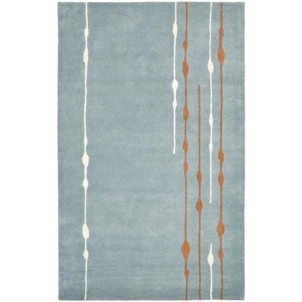 "Safavieh Handmade Soho Modern Abstract Rain Blue Wool Rug - 9'6"" x 13'6"""