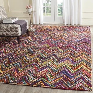 Safavieh Handmade Nantucket Abstract Chevron Pink/ Multi Cotton Rug (10' x 14')