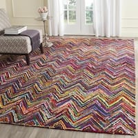 Safavieh Handmade Nantucket Abstract Chevron Pink/ Multi Cotton Rug - 10' x 14'