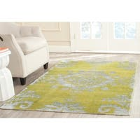 Safavieh Hand-knotted Stone Wash Chartreuse Wool/ Cotton Rug - 9' x 12'