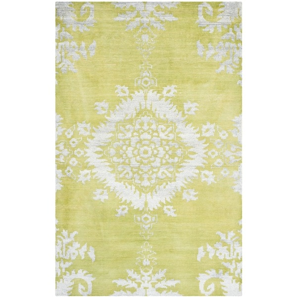 Safavieh Hand-knotted Stone Wash Chartreuse Wool/ Cotton Rug (9' x 12')