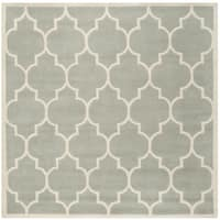 Safavieh Handmade Moroccan Chatham Grey/ Ivory Wool Rug - 4' x 4' Square