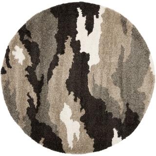 Safavieh Camouflage Shag Beige/ Multicolored Rug (4' Round)