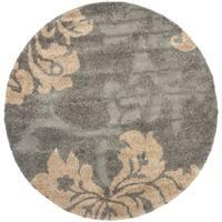 Safavieh Florida Shag Dark Grey/ Beige Floral Round Rug (4' Round)