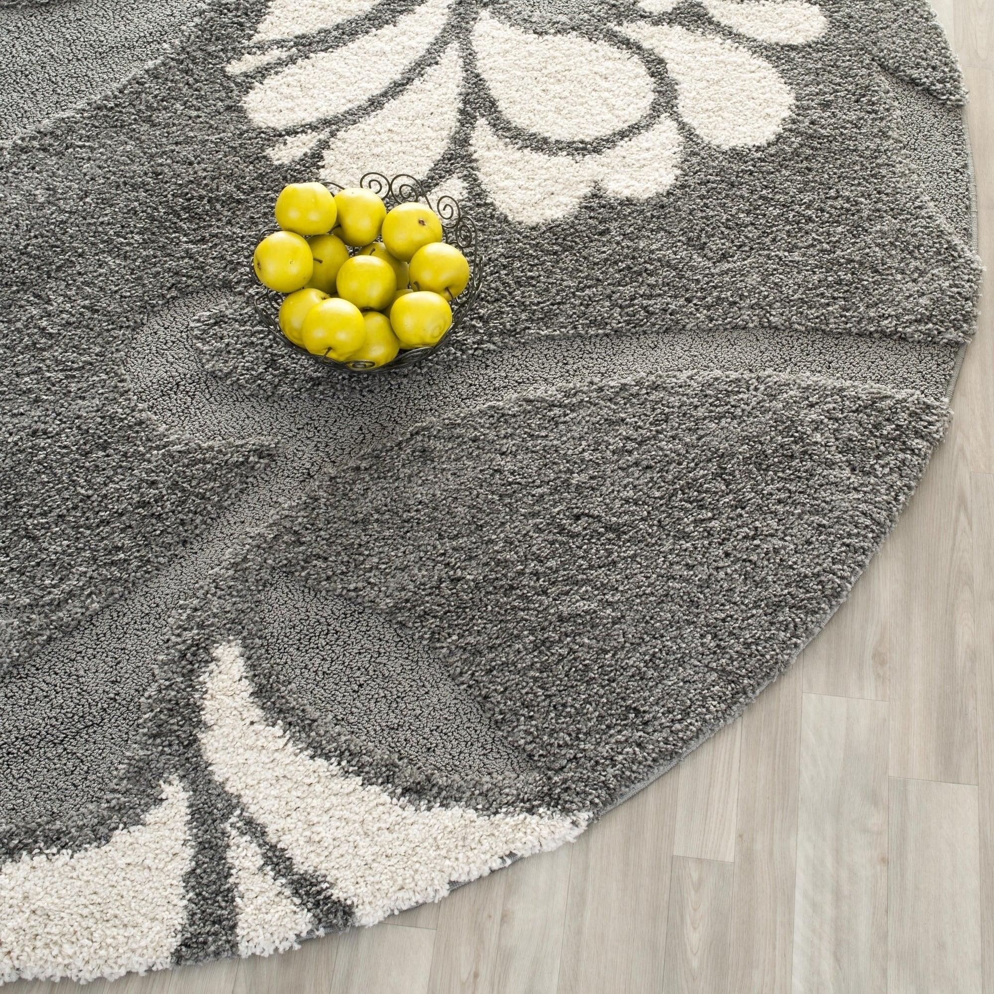 Safavieh Florida Shag Dark Grey Beige Floral Area Rug 4 Round Ebay
