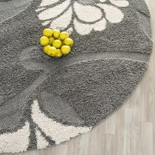 Safavieh Florida Shag Dark Grey/Beige Floral Round Rug (4' Round)