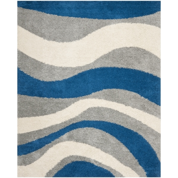 Safavieh Deco Shag Blue/ Grey Waves Area Rug - 9' x 12'