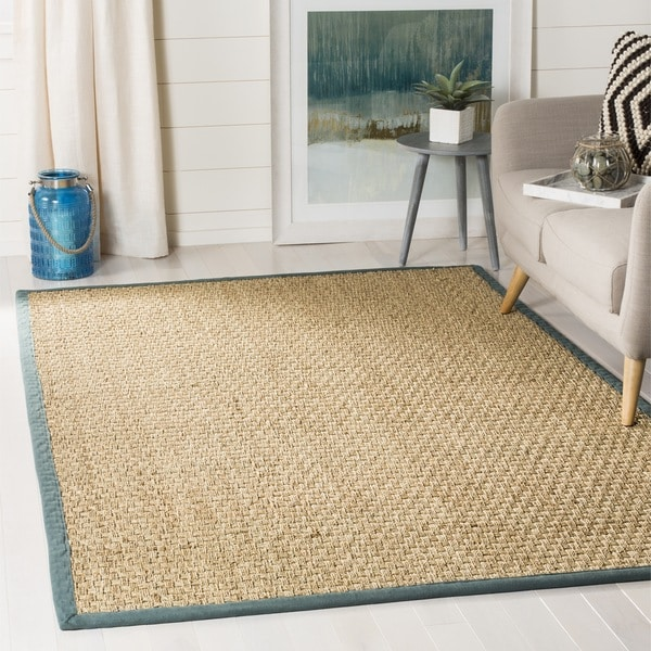 Safavieh Casual Natural Fiber Natural and Light Blue Border Seagrass Rug(9' x 12')