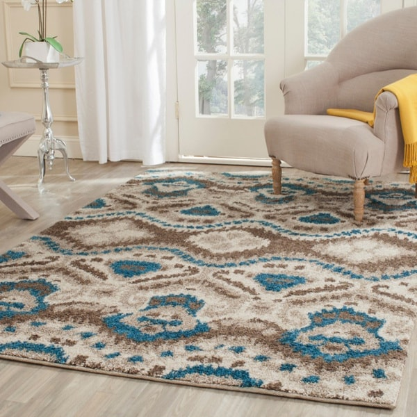 Turquoise And Brown Rug: Safavieh Tibetan Shag Brown/ Turquoise Rug