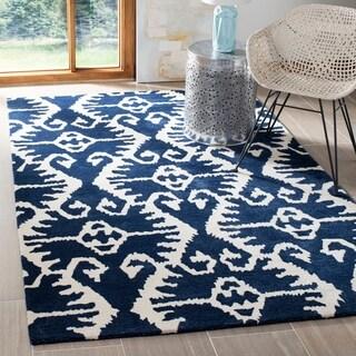 Safavieh Handmade Wyndham Royal Blue/ Ivory Wool Rug (8' x 10')
