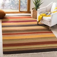 Safavieh Hand-woven Striped Kilim Gold Wool Rug - 5' x 8'