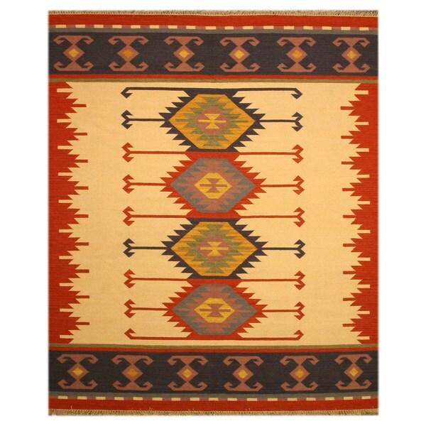 Handmade Wool Ivory Transitional Geometric Keysari Kilim Rug (5' x 8') - 5' x 8'