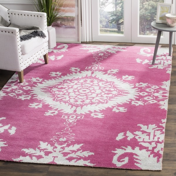 Safavieh Hand-knotted Stone Wash Fuchsia Wool/ Cotton Rug - 8' x 10'
