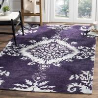 Safavieh Hand-knotted Stone Wash Deep Purple Wool/ Cotton Rug - 5' x 8'
