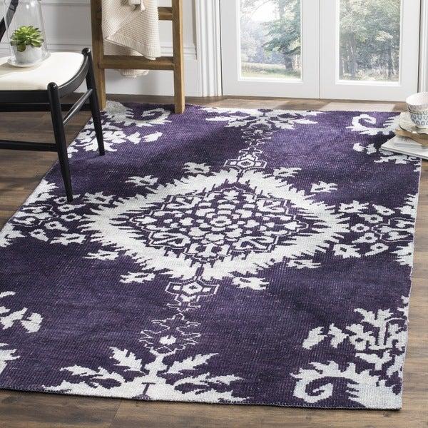 Safavieh Hand-knotted Stone Wash Deep Purple Wool/ Cotton
