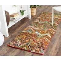 Safavieh Handmade Nantucket Abstract Chevron Multi Cotton Runner Rug - 2' 3 x 12'