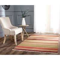 Safavieh Hand-woven Striped Kilim Red Wool Rug - 5' x 8'