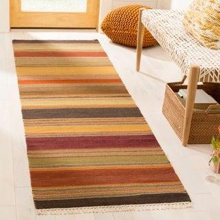 Safavieh Hand-woven Striped Kilim Gold Wool Rug (2'3 x 10')