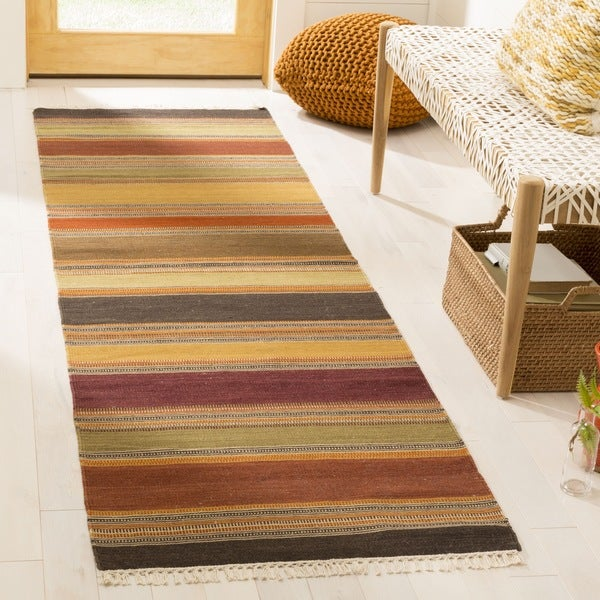 Safavieh Hand Woven Striped Kilim Gold Wool Rug 2 3 X 10