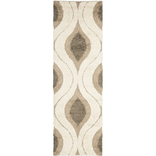 Safavieh Florida Shag Cream/ Smoke Geometric Ogee Runner (2'3 x 8')