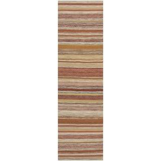 Safavieh Hand-woven Striped Kilim Beige Wool Rug (2'3 x 6')