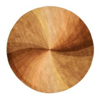 EORC Hand-tufted Wool Brown Swirl Rug (7'9 Round)